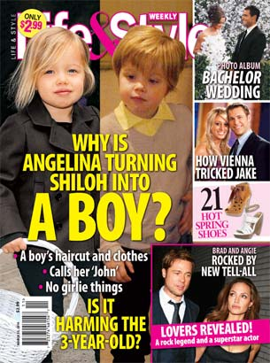 "Life and Style magazine featuring Angelina's ""transgender child"""