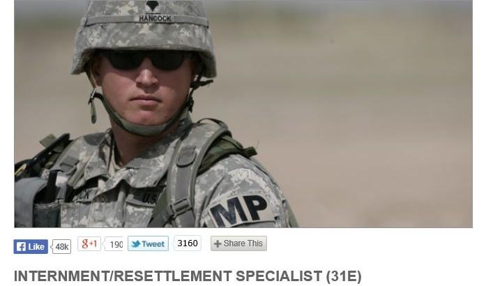 GoArmy Internment/Resettlement Specialist (31E) a.k.a. FEMA CAMPS