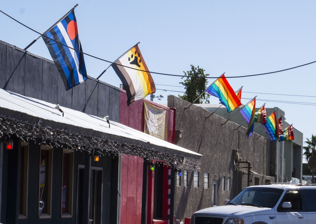 Fag pride flags outside the Queer church and adjoined bar