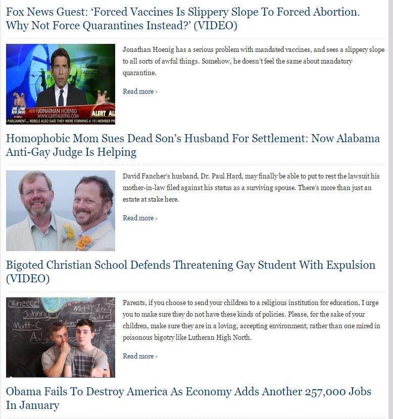 Tons of Sodomite propaganda. And some pro Obama banter as well. I guess these fools actually fell for the cooked numbers to support Obama.