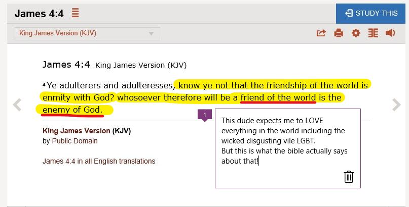 Bible James 4-4 World is enemy of God