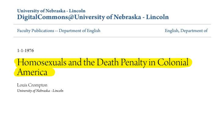 Death Penalty for Homos in America