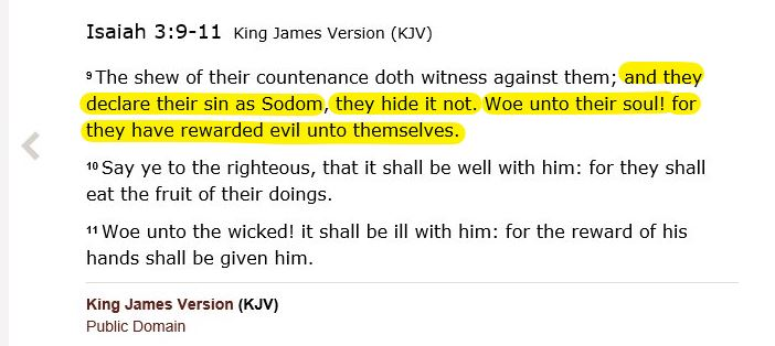 Isa 3 9 Declare sin as sodom